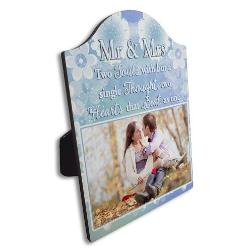 Personalised Mr & Mrs Two Souls But with A Single Thought Arch Top Photo Panel Frame Gift